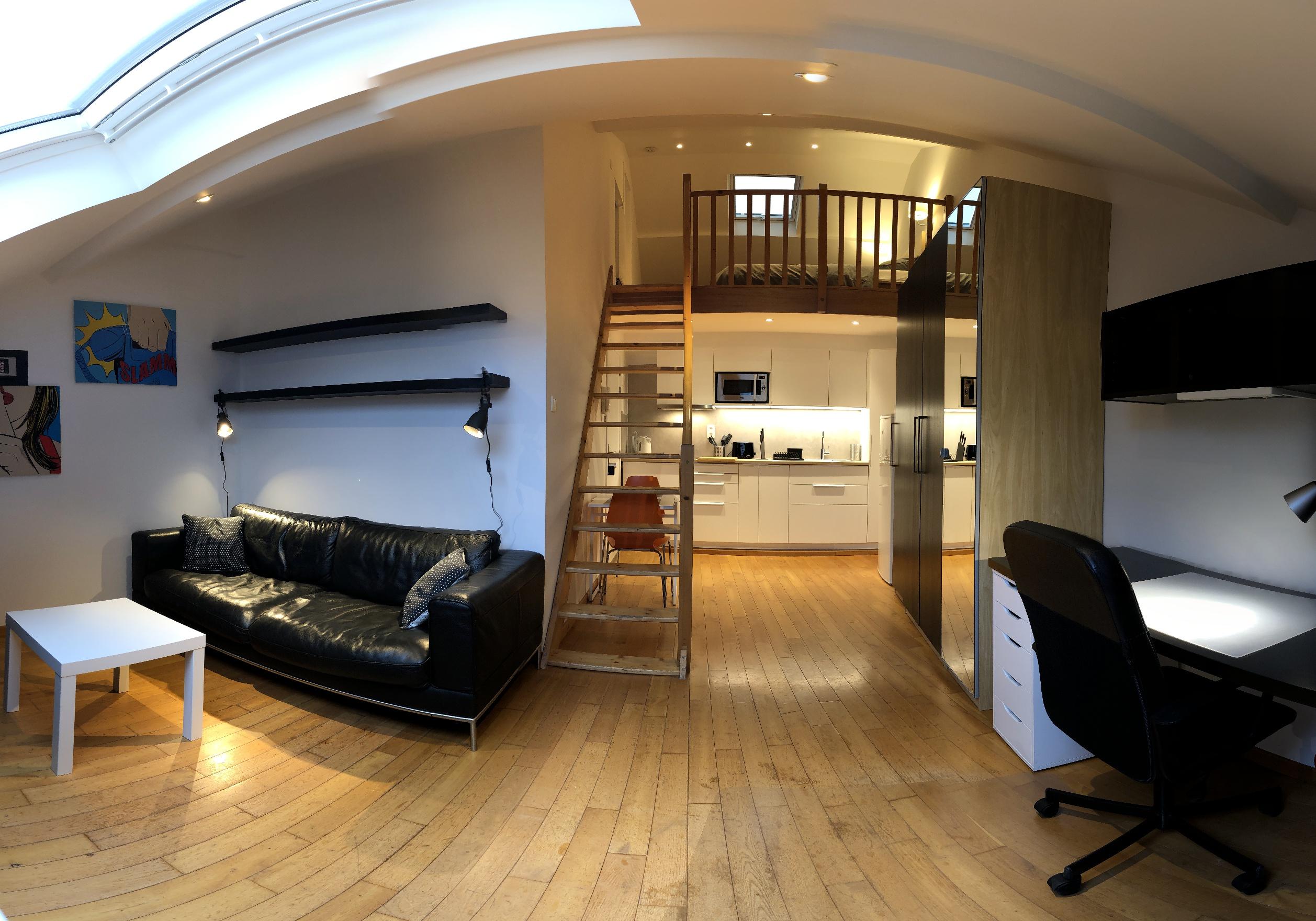 Appartement Meuble Bruxelles Studio Mezzanine Chaussee De Waterloo Quartier Porte De Hal Rent A Flat Brussels